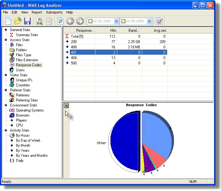 WMS Log Analyzer Screenshot