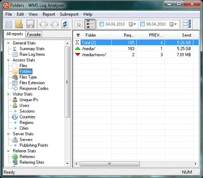 Log Analyzer for analysis Microsoft Windows Media Services server raw log files. best Screen Shot